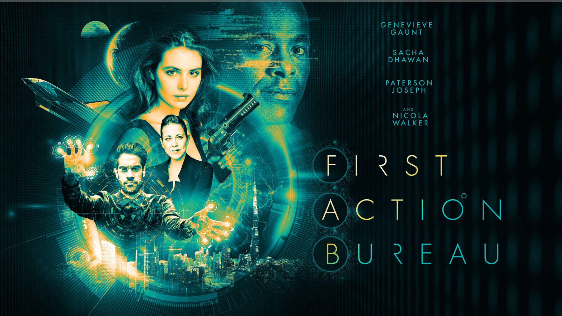 First Action Bureau series 1 poster featuring Genevieve Gaunt, paterson Joseph and Sacha Dhawan