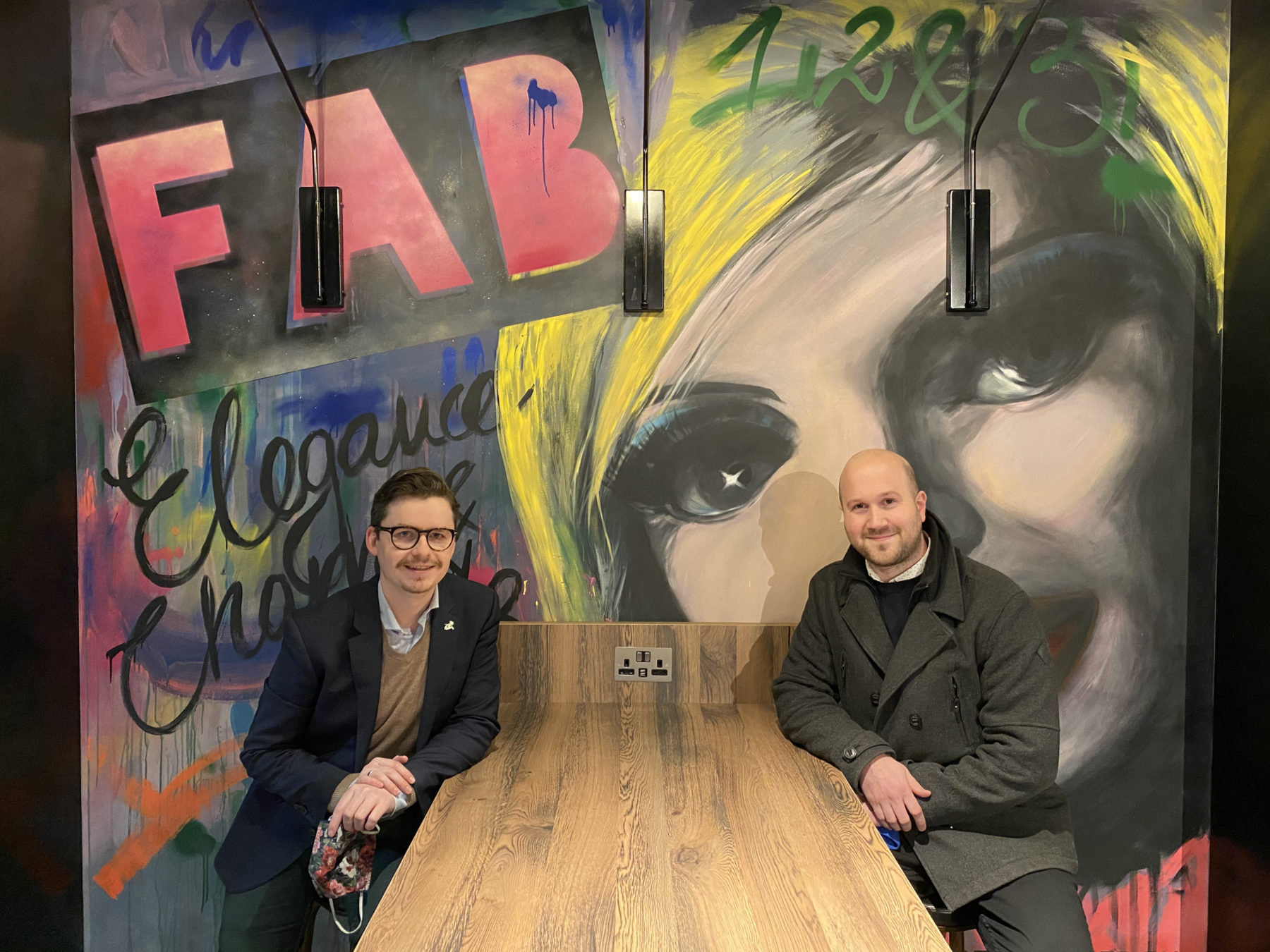 Moxy Slough general manager Philip Steiner with Anderson Entertainment MD Jamie Anderson